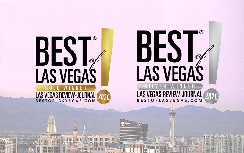 Premios Best of Las Vegas Gold y Silver sobre el horizonte de Las Vegas