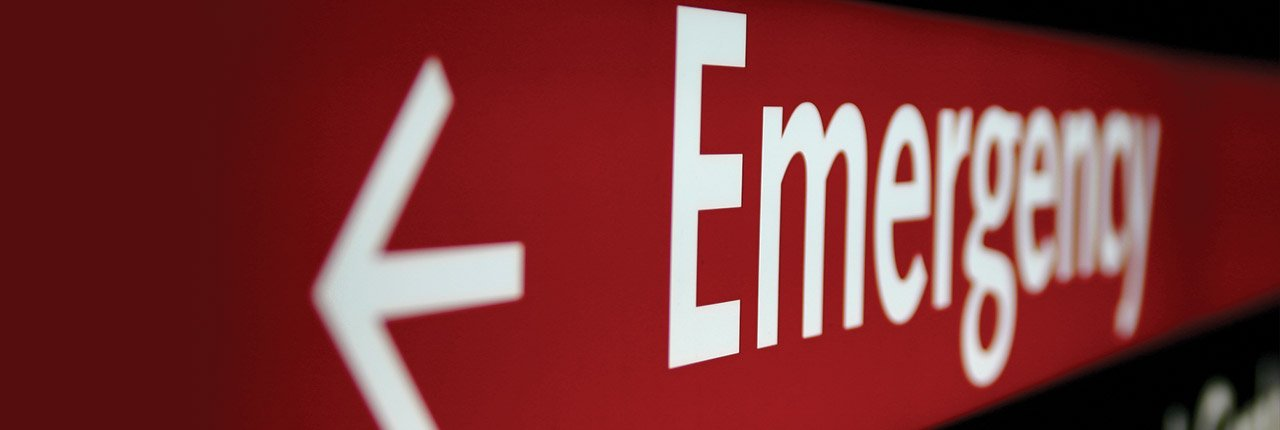Image of hospital emergency room sign.