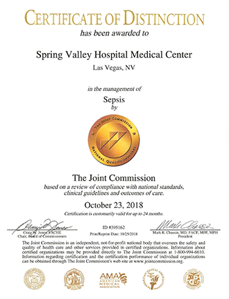 Certificado de distinción de Joint Commission: sepsis